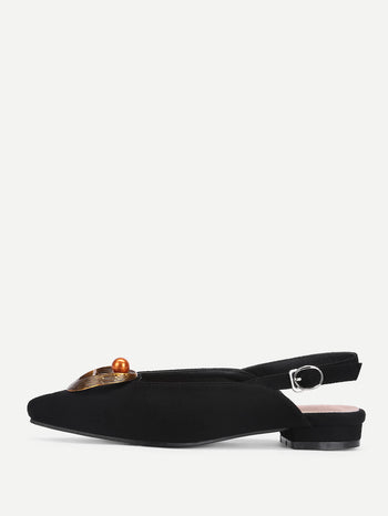 Bead Detail Pointed Toe Flats