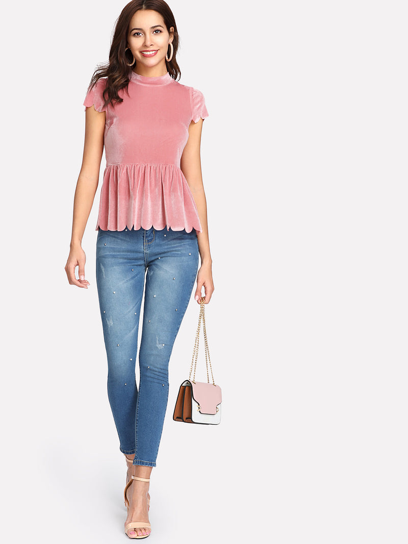 Scallop Trim Velvet Peplum Top