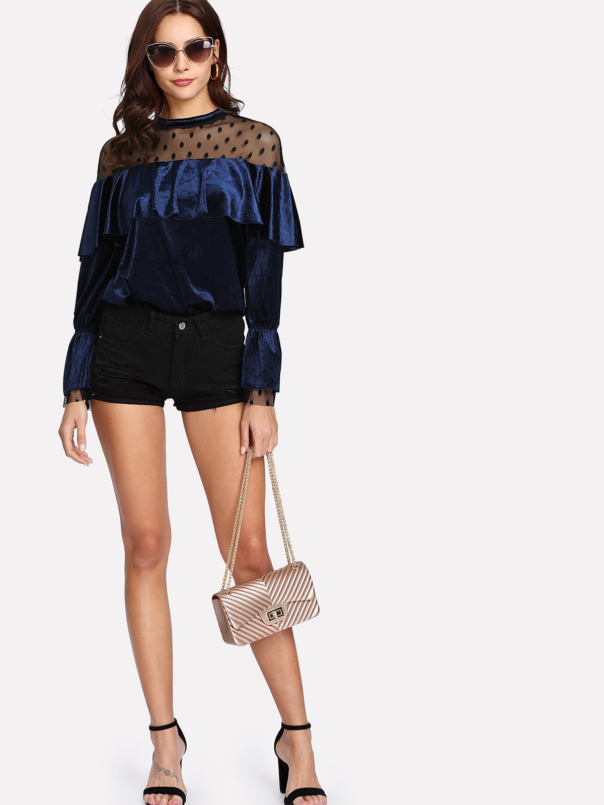 Dot Mesh Yoke Flounce Sleeve Velvet Top