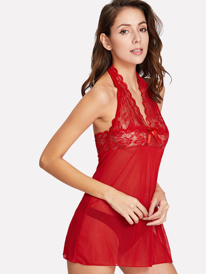 Scalloped Lace & Mesh Dress With Thong