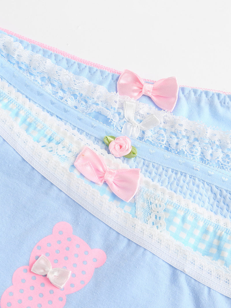 Bow Detail Gingham Panty 5pcs