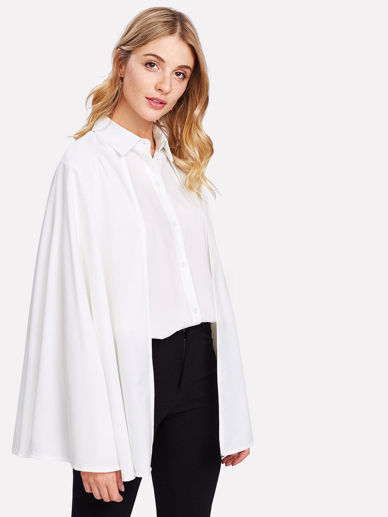Single Breasted Batwing Sleeve Shirt
