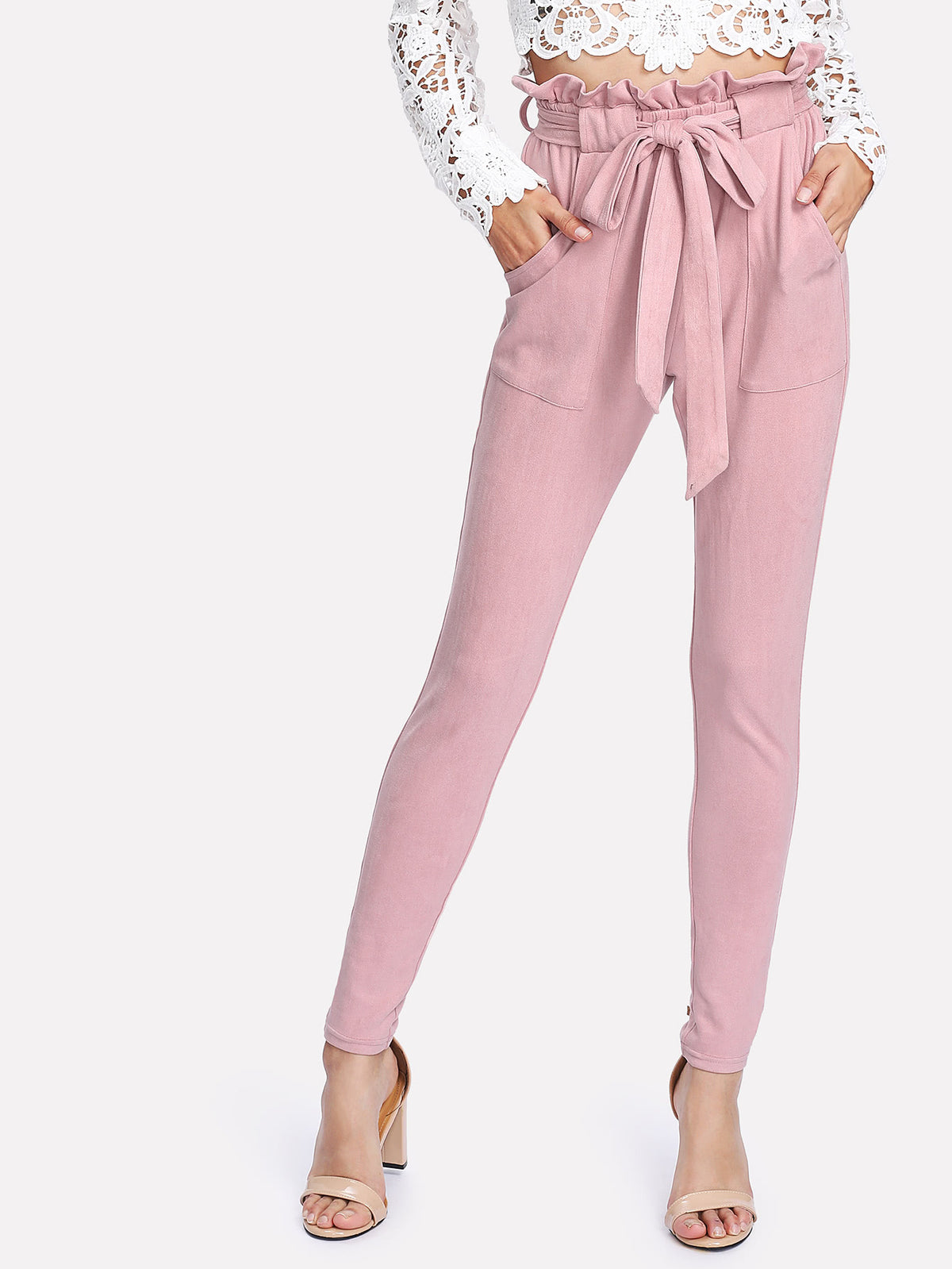 Self Belted Frilled Waist Suede Pants