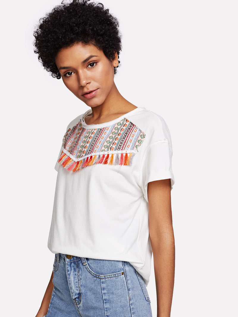 Tassel Trim Embroidered T-shirt