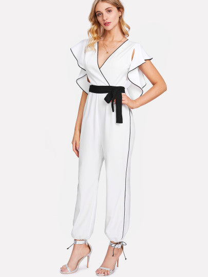 Bishop Sleeve Wrap Striped Romper