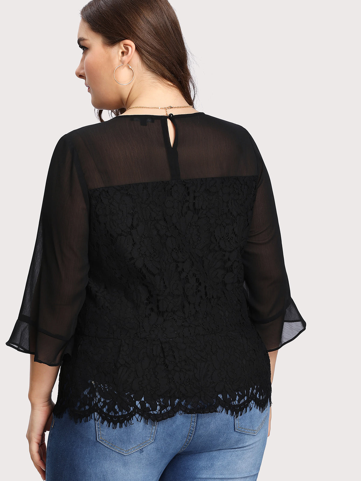 Illusion Neck Floral Lace Overlay Top
