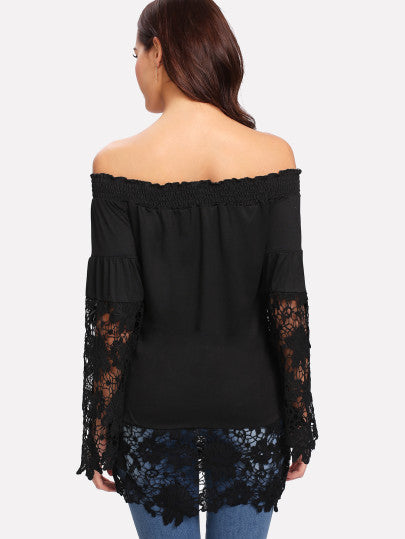 Contrast Lace Off Shoulder Tee