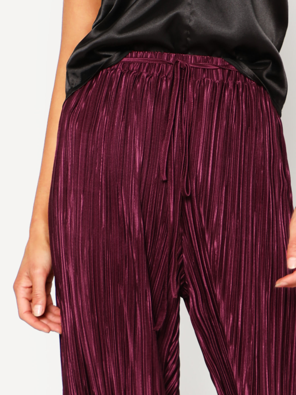 Self Tie Pleated Culotte Pants