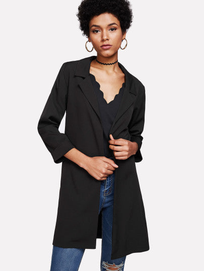 Notch Lapel Split Side Coat