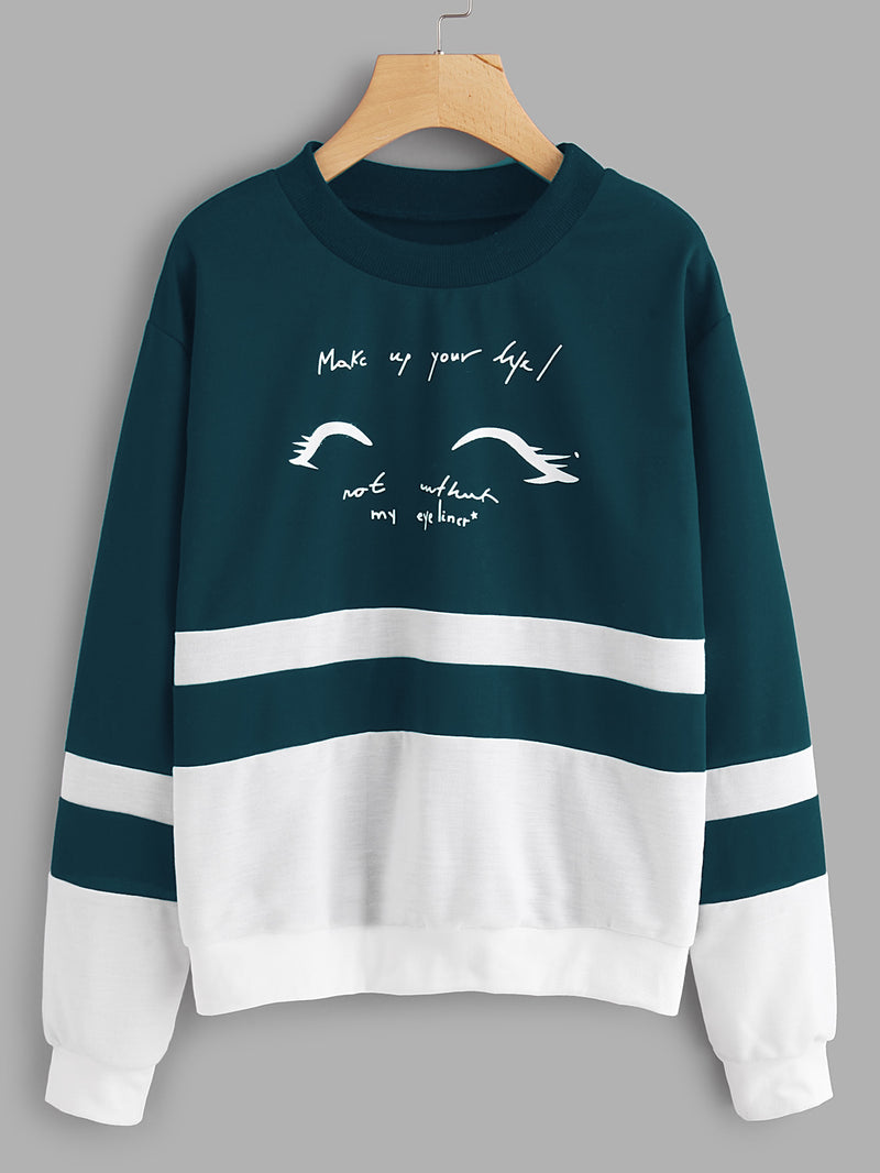 Letter Print Cut And Sew Sweatshirt