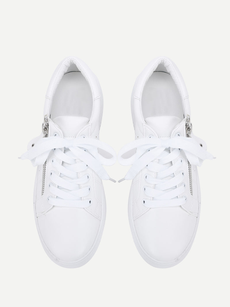 Laser Cutting Detail Contrast Lace Up Trainers