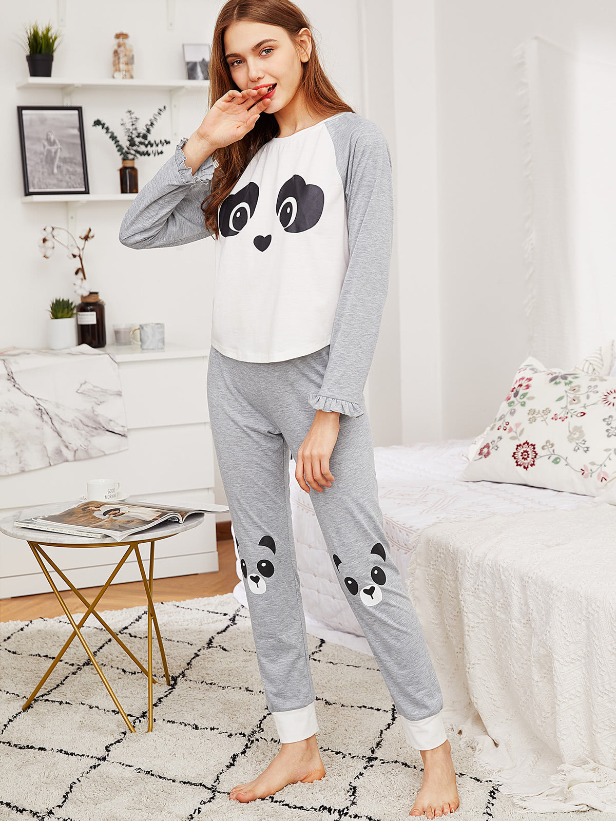 Panda Print Frilled Tee & Sweatpants Pajama Set