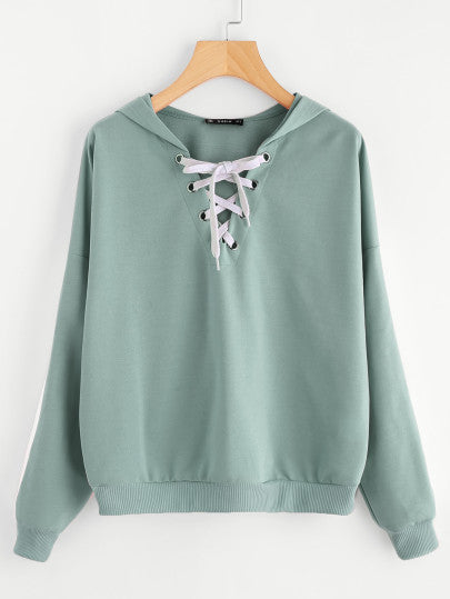 Contrast Panel Sleeve Lace Up Hoodie