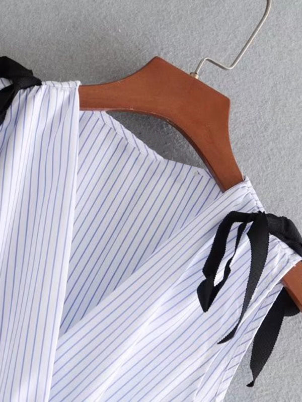 Tie Shoulder Striped Babydoll Tank Top