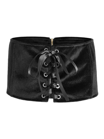 Lace Up Zipper Back Belt