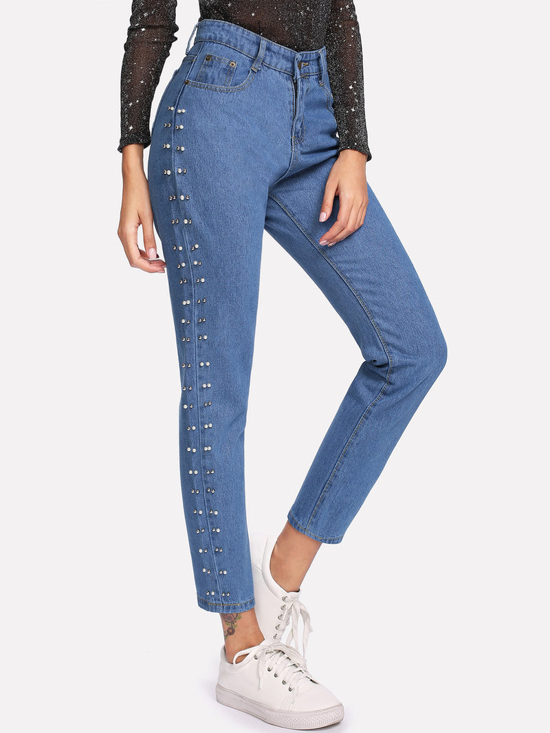 Beaded Side Straight Jeans