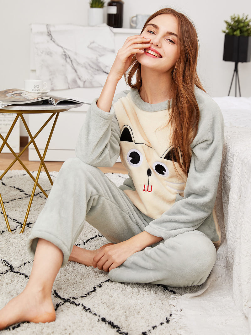 Cartoon Embroidered Plush Top & Pants PJ Set