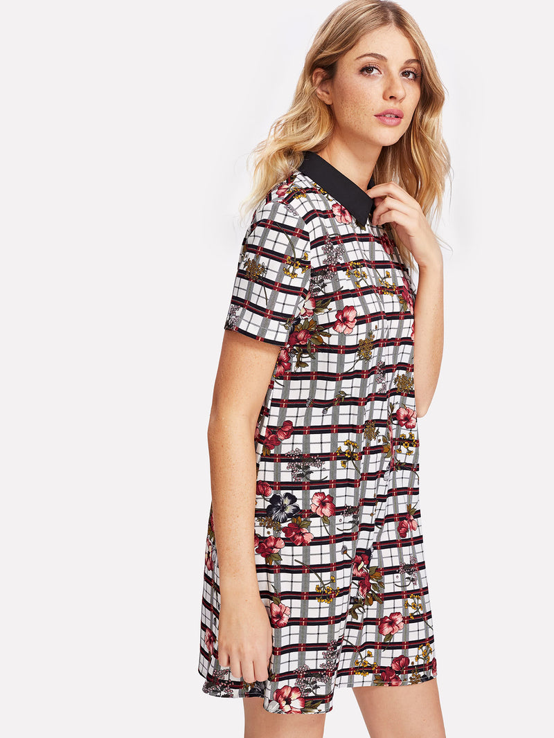 Contrast Collar Mixed Print Dress