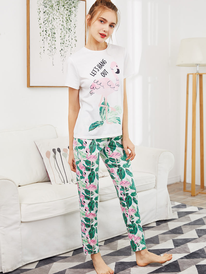 Flamingo And Jungle Leaf Print Top And Pants Pajama Set