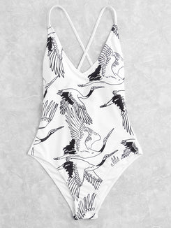 Crane Print Lace Up Back Swimsuit