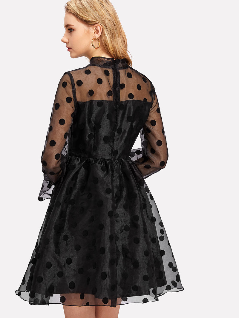 Polka Dot Organza Overlay Fit & Flare Dress