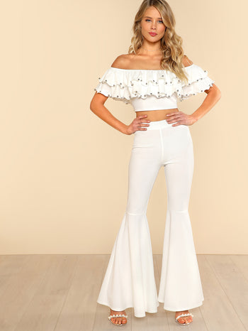 Beading Detail Layered Bardot Top & Pants Set