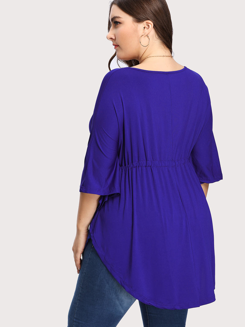 Drawstring Front Curved Hem Top