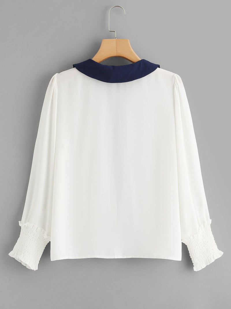 Contrast Trim Puff Sleeve Shirred Cuff Shirt