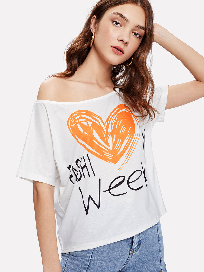 Asymmetric Shoulder Graphic Tee