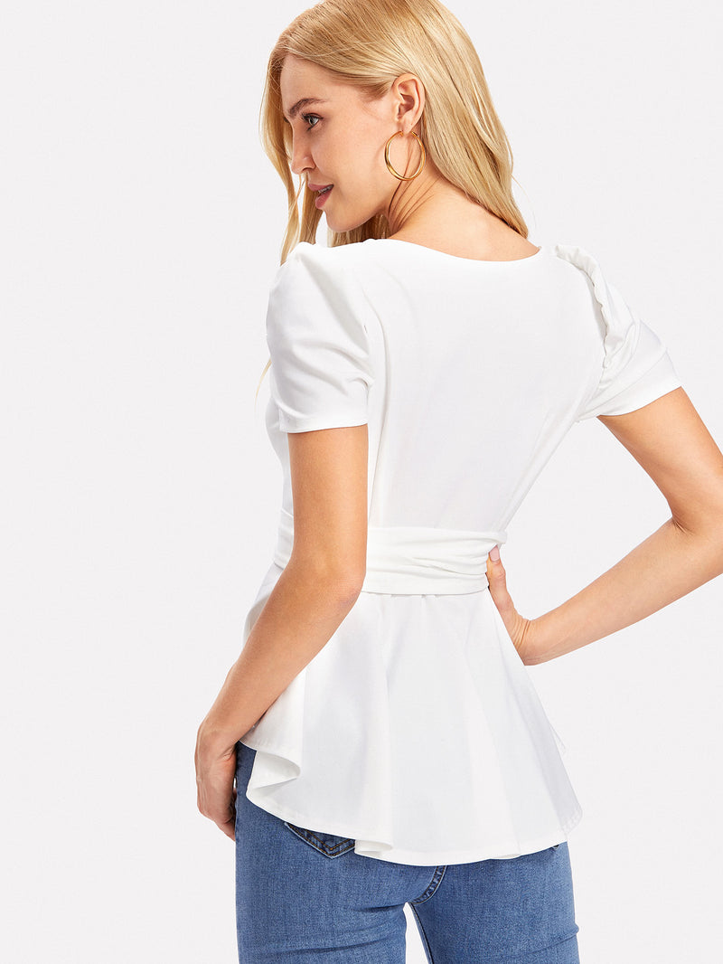 Puff Sleeve Self Belt Top
