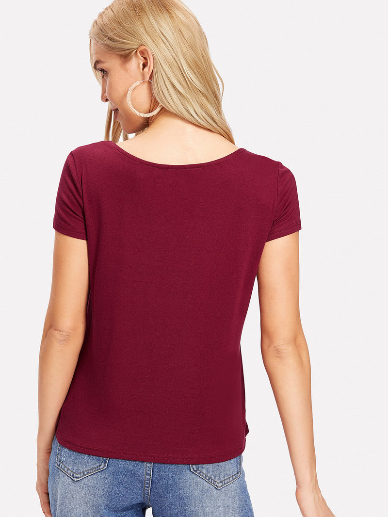 Strappy Neck Solid Tee