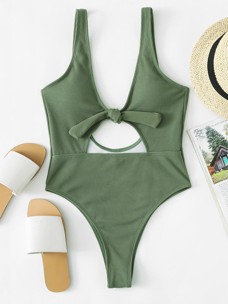 Cut Out Knot Swimsuit