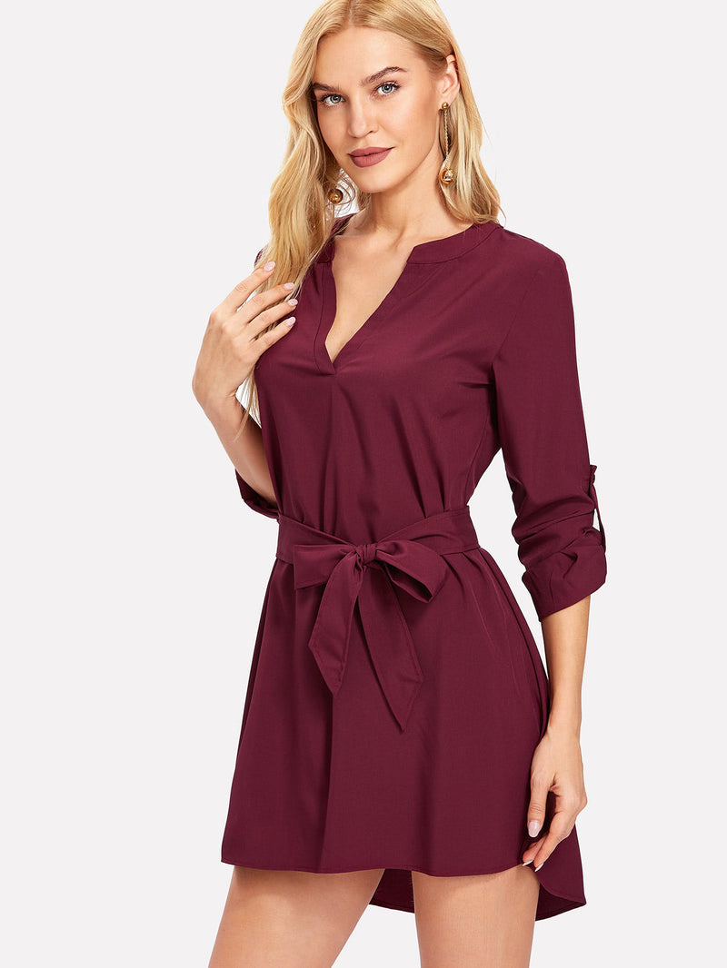 Self Tie Dip Hem Dress