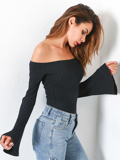 Off Shoulder Bell Sleeve Ribbed Tee