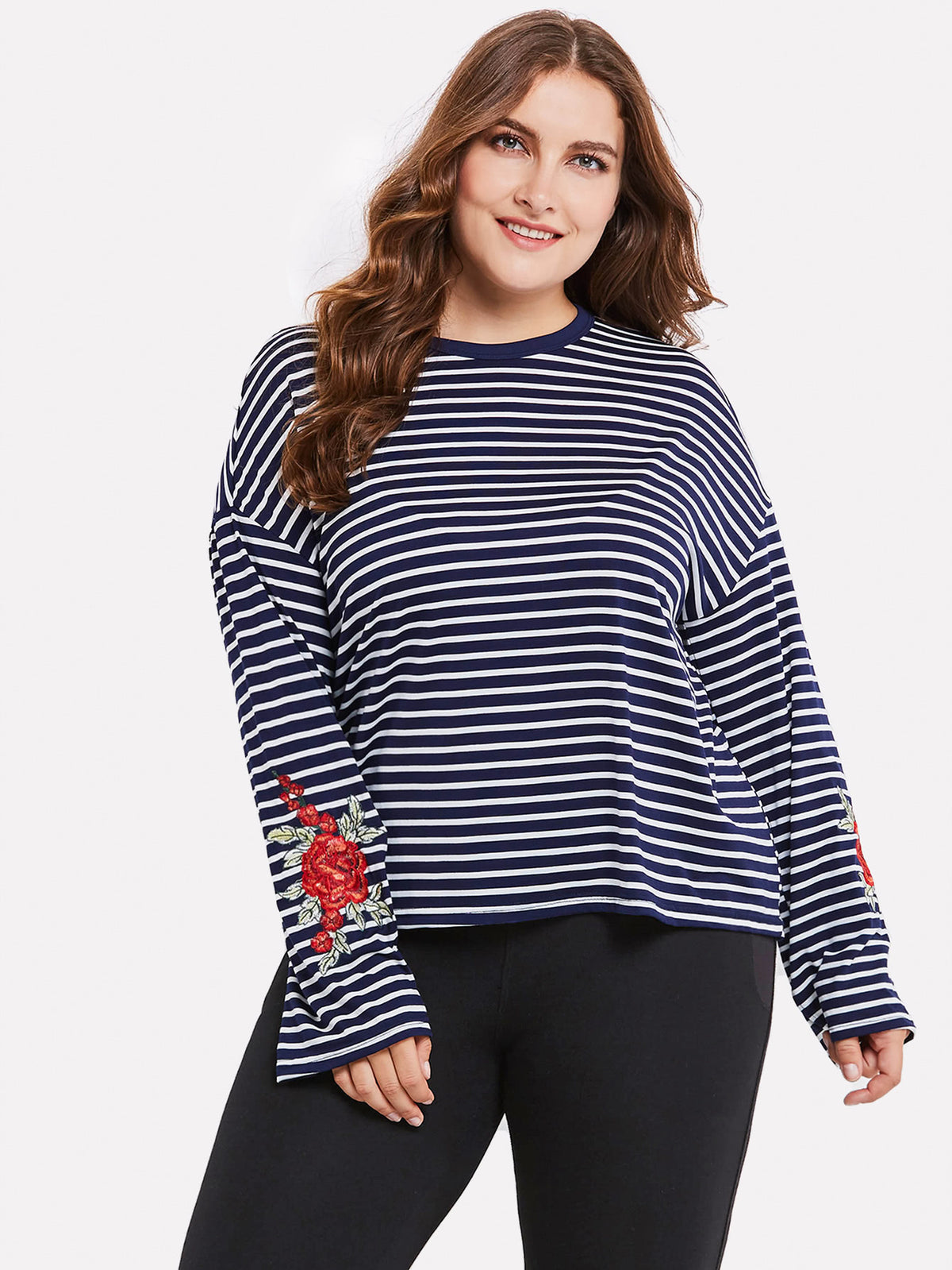 Contrast Stripe Embroidery Tshirt
