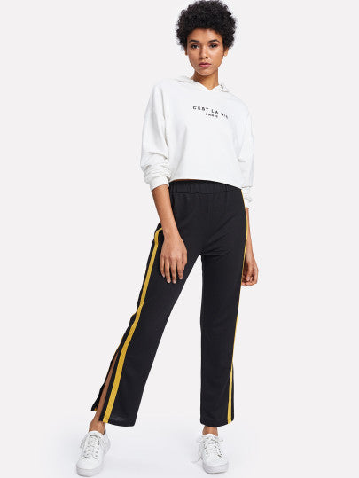 Striped Tape Split Side Pants