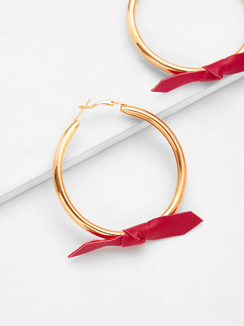 Knot Design Hoop Drop Earrings