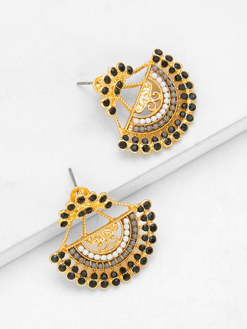Semicircle Shaped Drop Earrings With Rhinestone