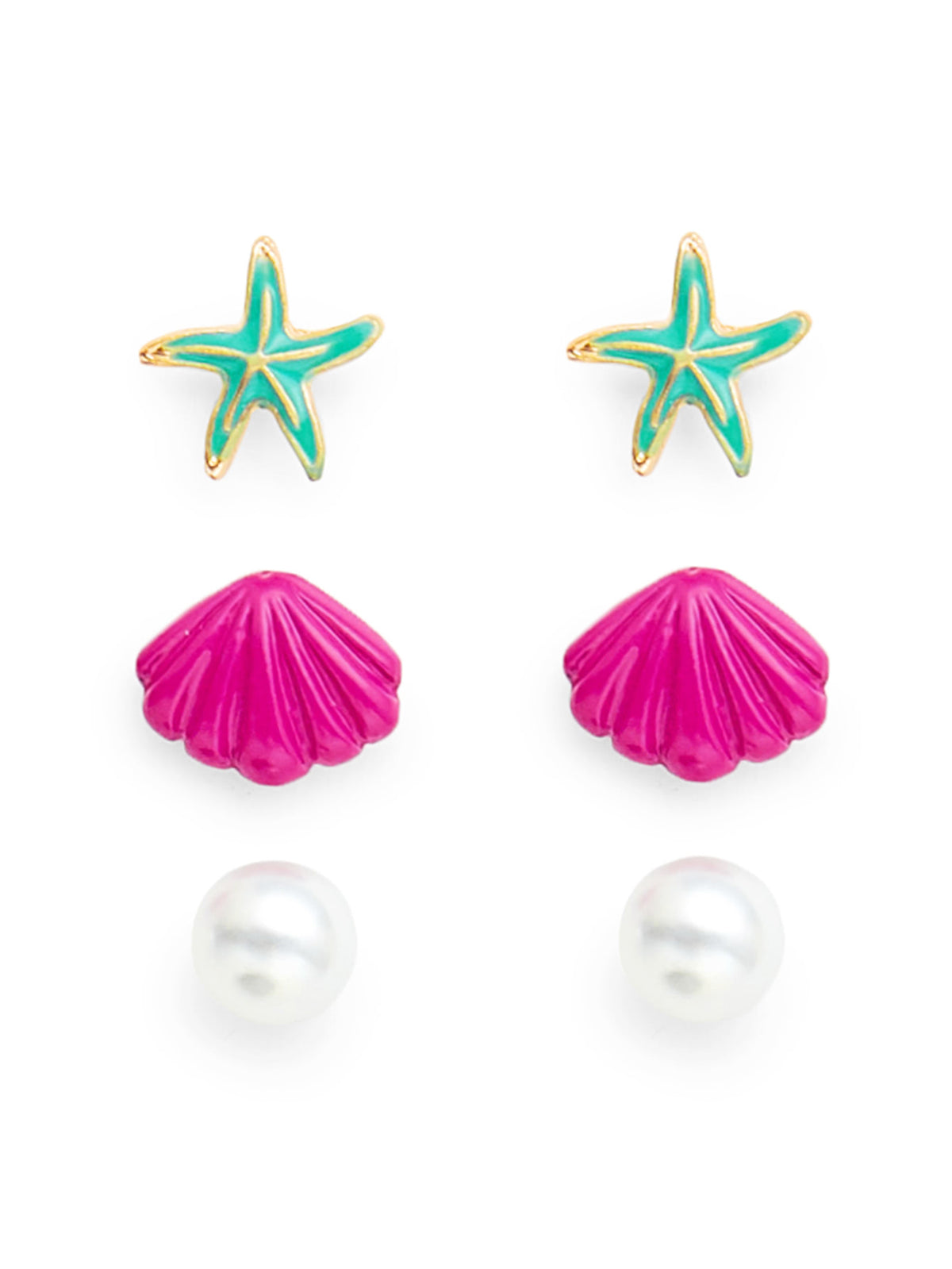 Starfish and Scallop Design Stud Earring Set