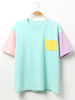 Color-block T-shirt With Pocket