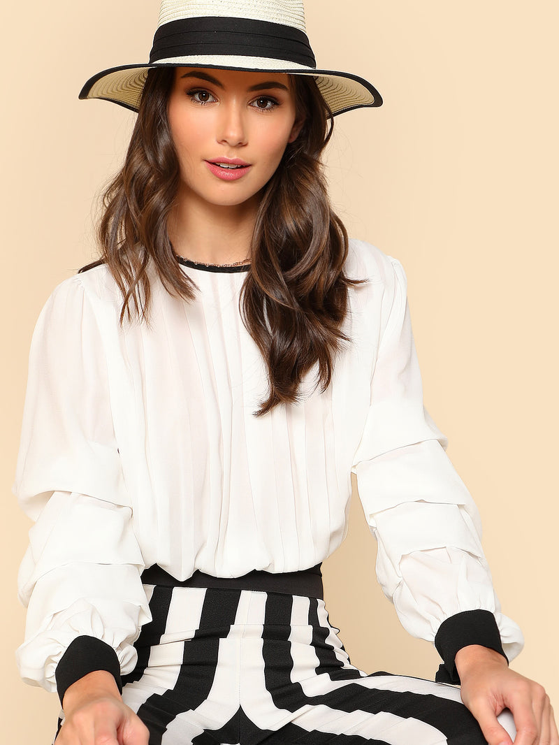 Gathered Sleeve Bow Tied Back Top