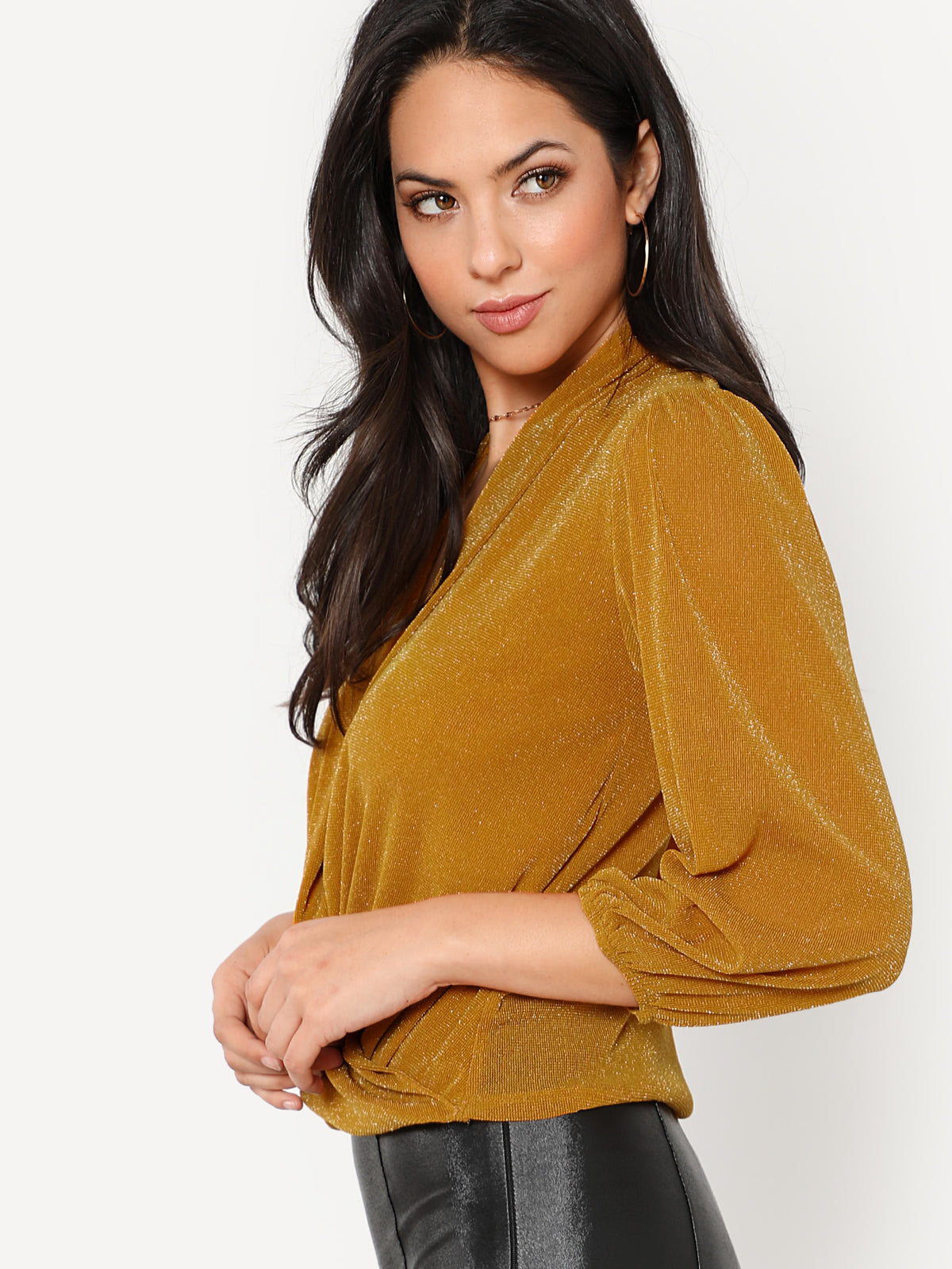 Deep V Neckline Surplice Top