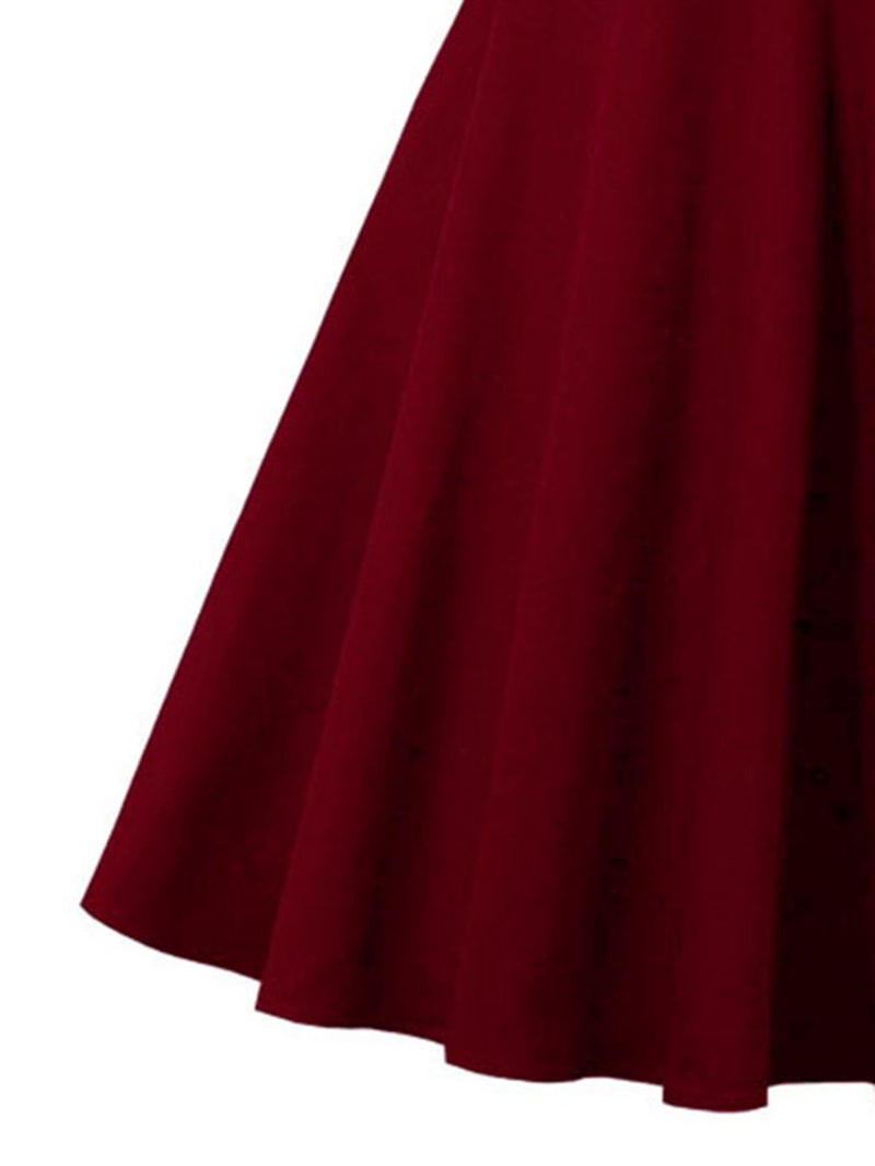 Contrast Panel Sweetheart Neckline Circle Dress