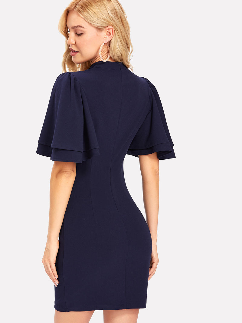 Flutter Sleeve Button Detail Fitted Dress