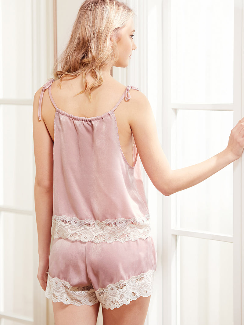 Contrast Lace Hem Halter Top & Shorts PJ Set