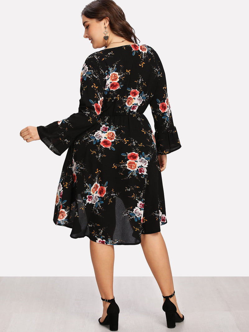 Surplice Neckline Dip Hem Florals Dress