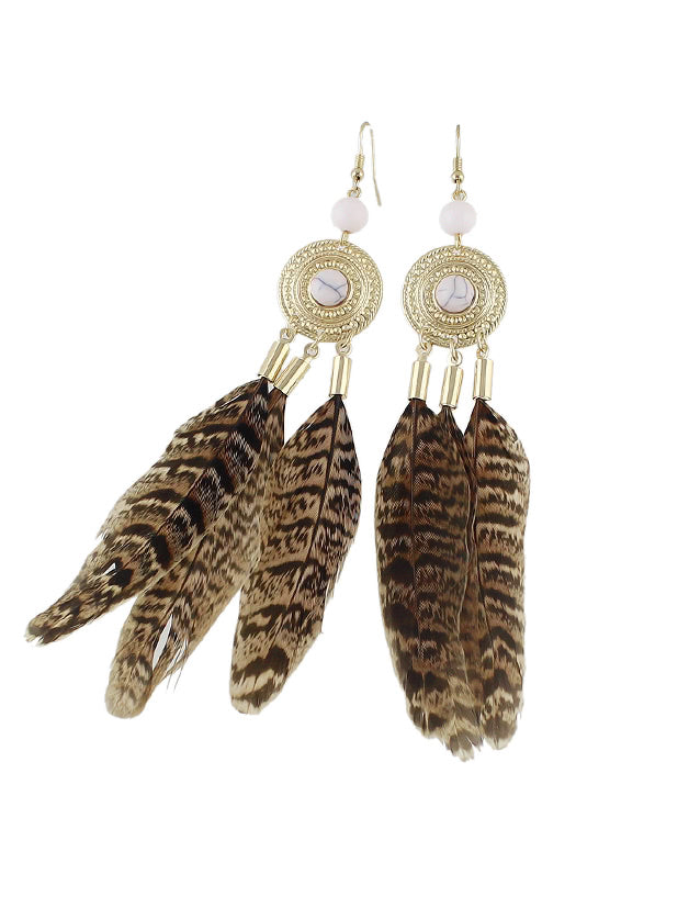 Leopard Feather Dangle Earrings