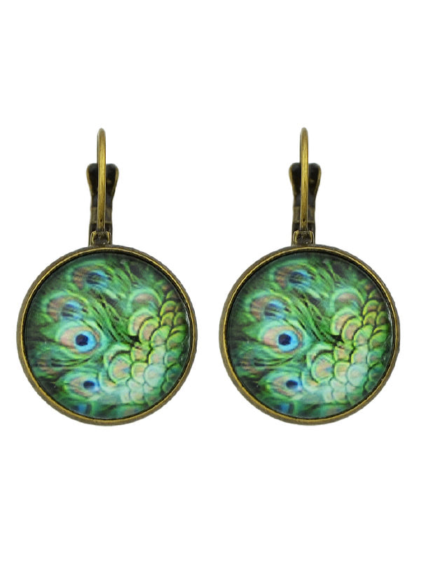 Green Peacock Feather Pattern Hoop Earrings