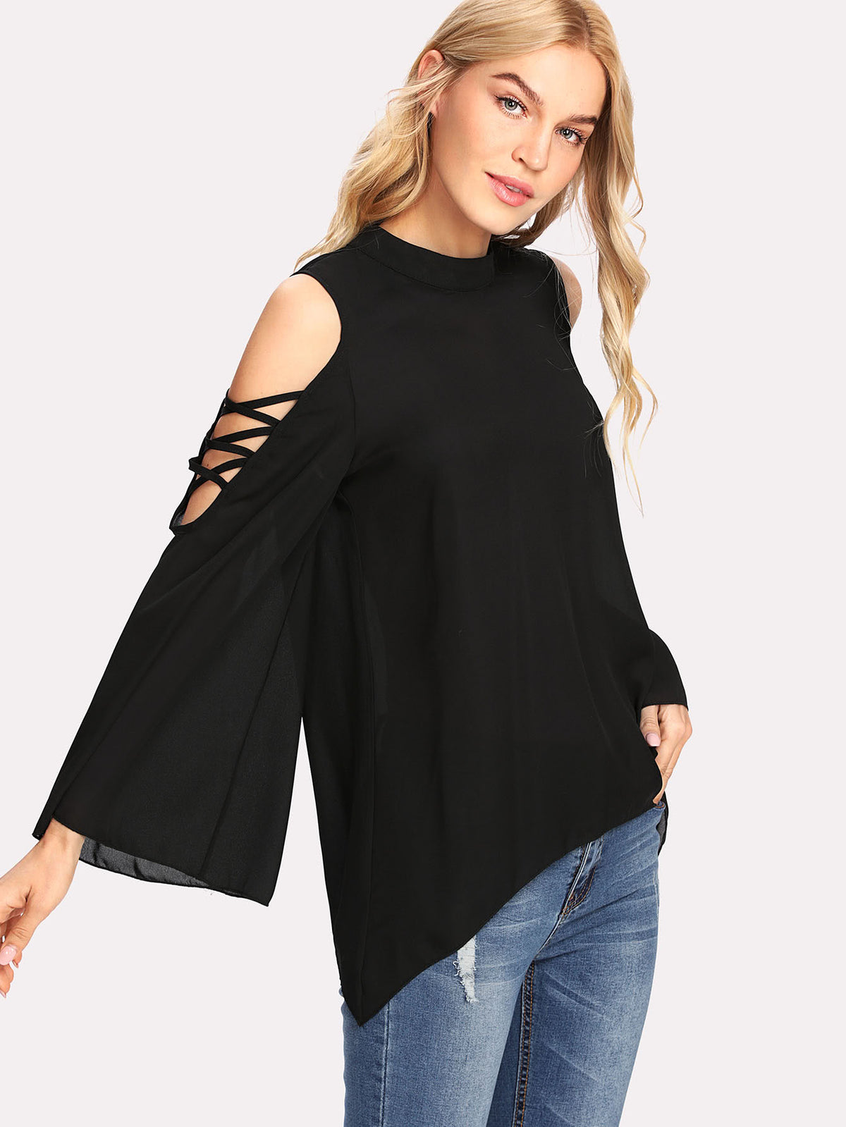 Mock Neck Crisscross Open Shoulder Top