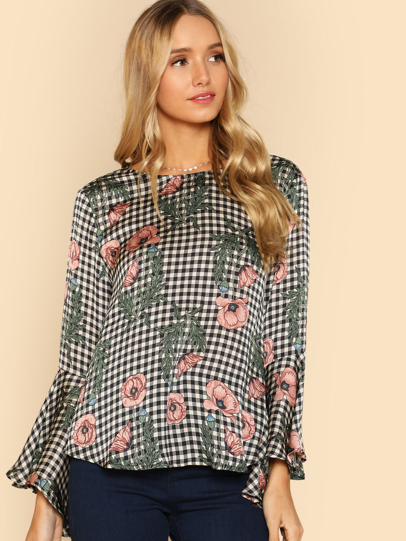 Ruffle Sleeve Mixed Print Top